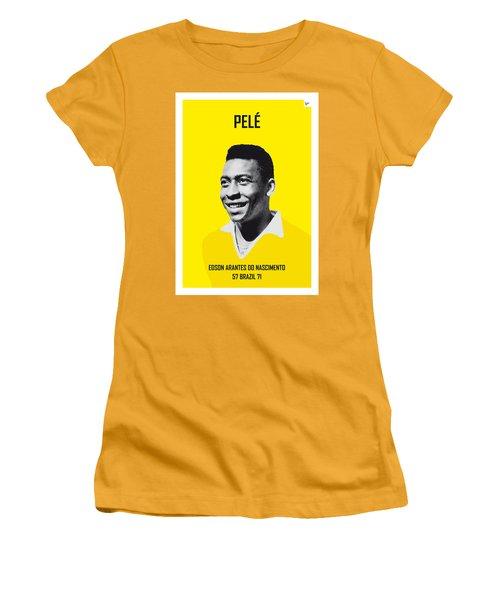 My Pele Soccer Legend Poster Women's T-Shirt (Junior Cut) by Chungkong Art