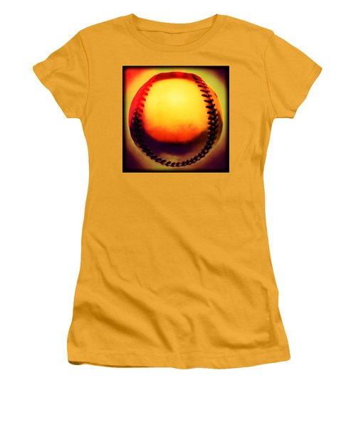 Red Hot Baseball Women's T-Shirt (Junior Cut) by Yo Pedro