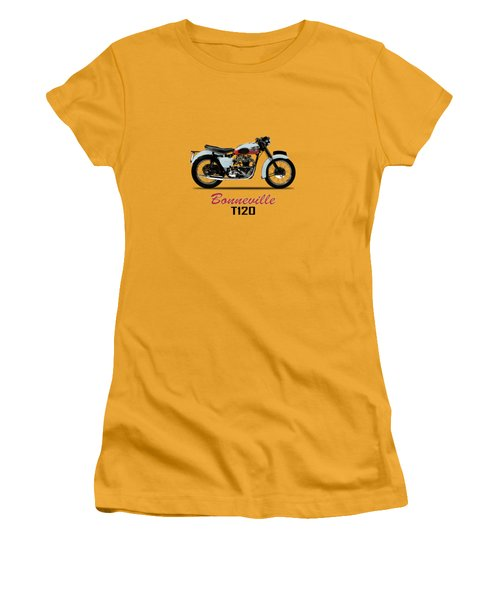 1959 T120 Bonneville Women's T-Shirt (Junior Cut) by Mark Rogan