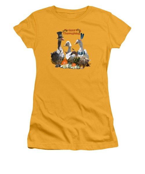 Thanksgiving Ducks Women's T-Shirt (Junior Cut) by Gravityx9 Designs