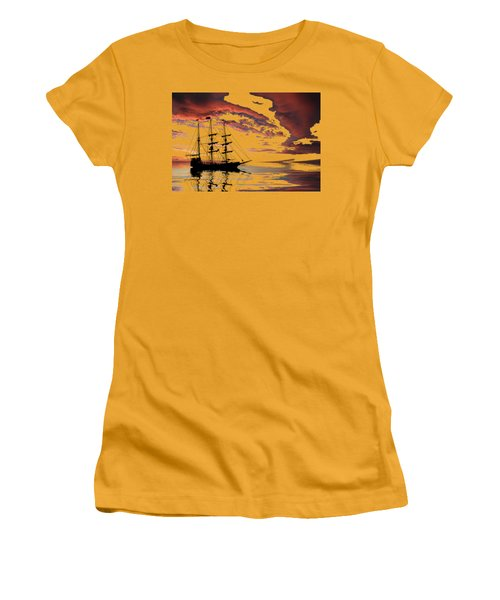 Pirate Ship At Sunset Women's T-Shirt (Junior Cut) by Shane Bechler
