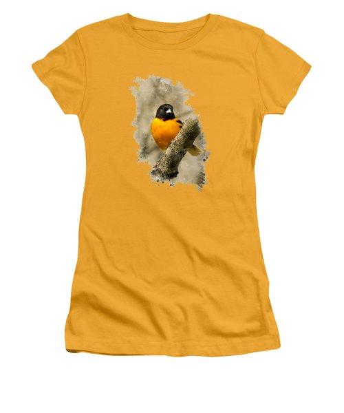 Baltimore Oriole Watercolor Art Women's T-Shirt (Junior Cut) by Christina Rollo