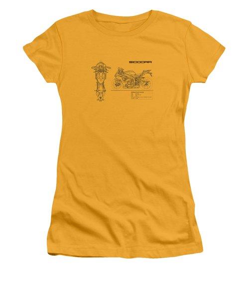Blueprint Of A S1000rr Motorcycle Women's T-Shirt (Junior Cut) by Mark Rogan