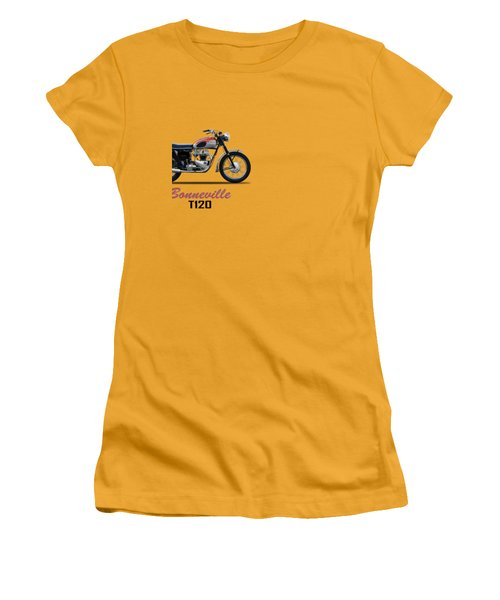 Bonneville T120 1962 Women's T-Shirt (Junior Cut) by Mark Rogan