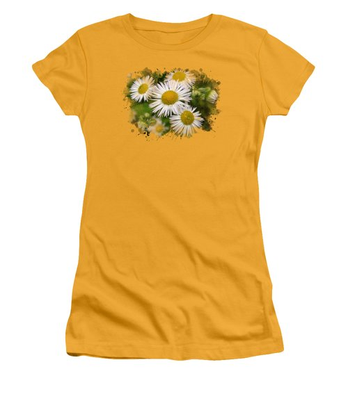 Daisy Watercolor Art Women's T-Shirt (Junior Cut) by Christina Rollo