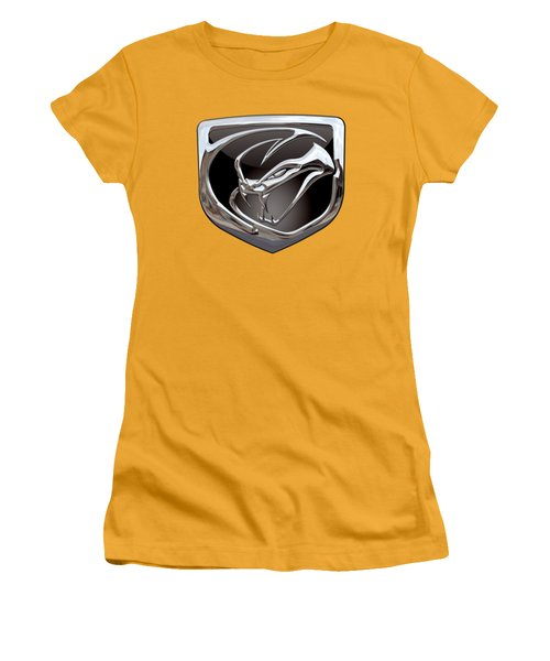 Dodge Viper 3 D  Badge Special Edition On Yellow Women's T-Shirt (Junior Cut) by Serge Averbukh