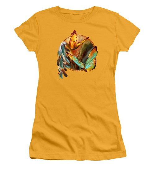 Dream Catcher - Spirit Of The Butterfly Women's T-Shirt (Junior Cut) by Carol Cavalaris