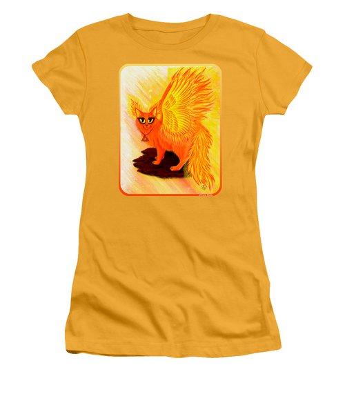 Elemental Fire Fairy Cat Women's T-Shirt (Junior Cut) by Carrie Hawks