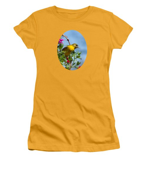 Female Baltimore Oriole In A Flower Basket Women's T-Shirt (Junior Cut) by Christina Rollo