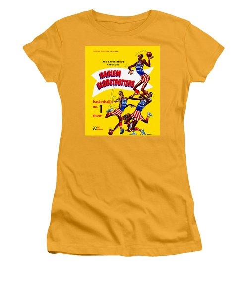 Harlem Globetrotters Vintage Program 32nd Season Women's T-Shirt (Junior Cut) by Big 88 Artworks