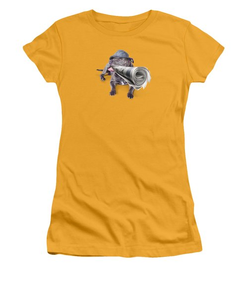 Isolated Newspaper Dog Carrying Latest News Women's T-Shirt (Junior Cut) by Jorgo Photography - Wall Art Gallery