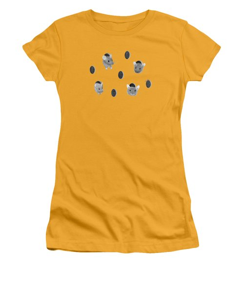 Mice In Swiss Cheese Women's T-Shirt (Junior Cut) by Rita Palmer