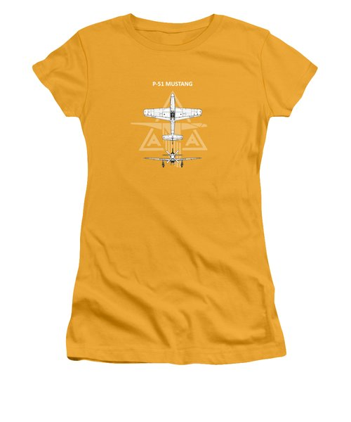 P-51 Mustang Women's T-Shirt (Junior Cut) by Mark Rogan