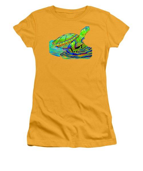 Painted Turtle Women's T-Shirt (Junior Cut) by Rebecca Wang