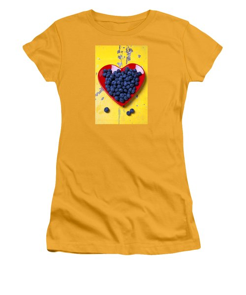 Red Heart Plate With Blueberries Women's T-Shirt (Junior Cut) by Garry Gay