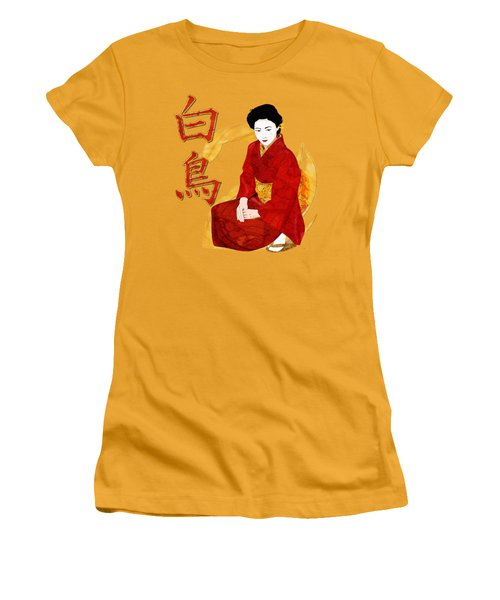 Swan Japanese Geisha Women's T-Shirt (Junior Cut) by Sharon and Renee Lozen