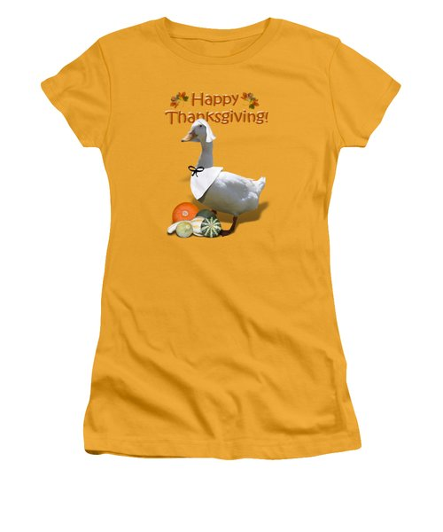 Thanksgiving Pilgrim Duck Women's T-Shirt (Junior Cut) by Gravityx9  Designs