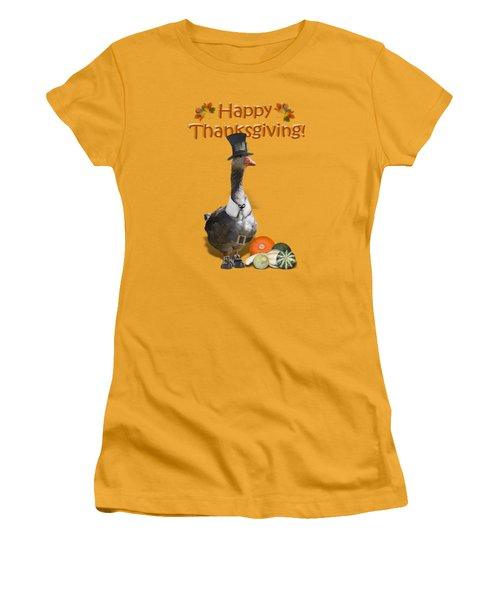 Thanksgiving Pilgrim Goose Women's T-Shirt (Junior Cut) by Gravityx9  Designs