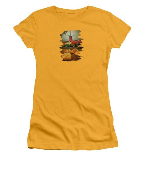 The Yellow Wooden Shoes Women's T-Shirt (Junior Cut) by Thom Zehrfeld