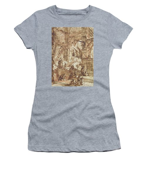 Preparatory Drawing For Plate Number Viii Of The Carceri Al'invenzione Series Women's T-Shirt (Junior Cut) by Giovanni Battista Piranesi