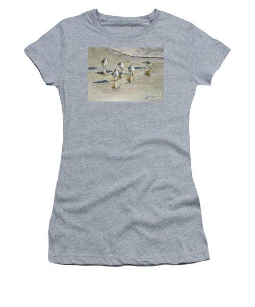 Sandpipers 2 Watercolor 5-13-12 Julianne Felton Women's T-Shirt (Junior Cut) by Julianne Felton