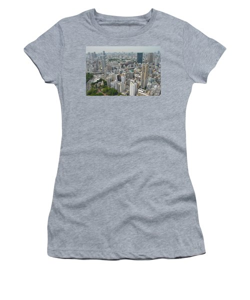 Tokyo Intersection Skyline View From Tokyo Tower Women's T-Shirt (Junior Cut) by Jeff at JSJ Photography