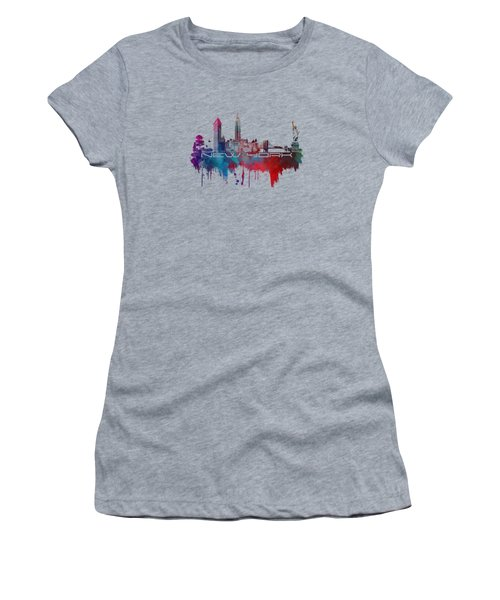 New York City Skyline Blue Women's T-Shirt (Junior Cut) by Justyna JBJart