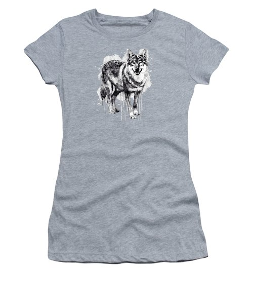 Alpha Wolf Black And White Women's T-Shirt (Junior Cut) by Marian Voicu