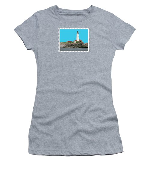 Boston Harbor Lighthouse Women's T-Shirt (Junior Cut) by Elaine Plesser