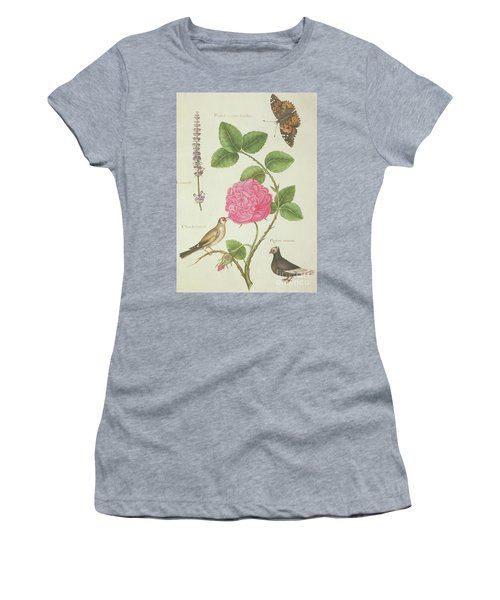 Centifolia Rose, Lavender, Tortoiseshell Butterfly, Goldfinch And Crested Pigeon Women's T-Shirt (Junior Cut) by Nicolas Robert
