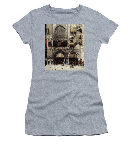 Circassian Cavalry Awaiting Their Commanding Officer At The Door Of A Byzantine Monument Women's T-Shirt (Junior Cut) by Alberto Pasini