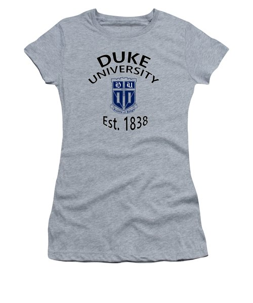 Duke University Est 1838 Women's T-Shirt (Junior Cut) by Movie Poster Prints