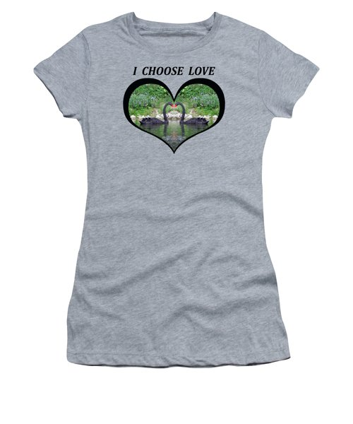 I Chose Love With Black Swans Forming A Heart Women's T-Shirt (Junior Cut) by Julia L Wright