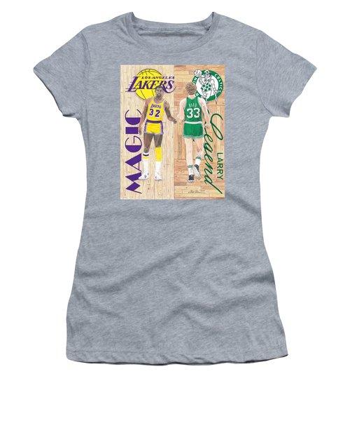 Magic Johnson And Larry Bird Women's T-Shirt (Junior Cut) by Chris Brown