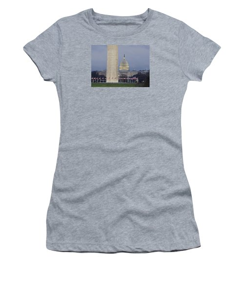 Washington Monument And United States Capitol Buildings - Washington Dc Women's T-Shirt (Junior Cut) by Brendan Reals