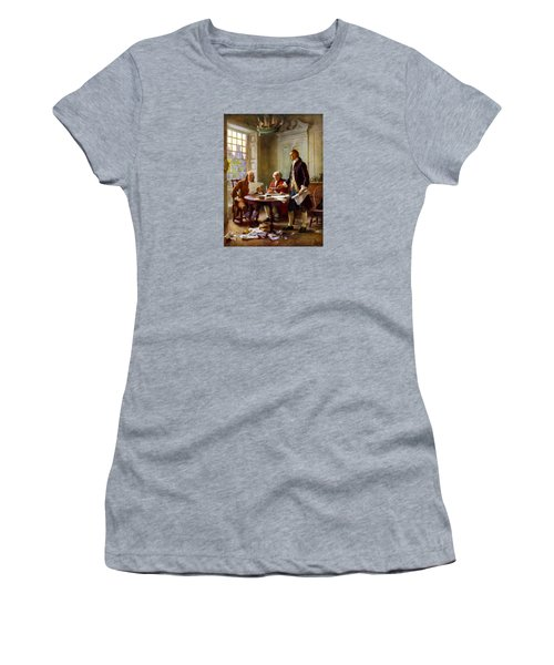 Writing The Declaration Of Independence Women's T-Shirt (Junior Cut) by War Is Hell Store