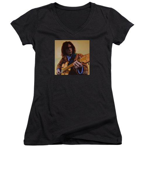 Neil Young Painting Women's V-Neck T-Shirt (Junior Cut) by Paul Meijering