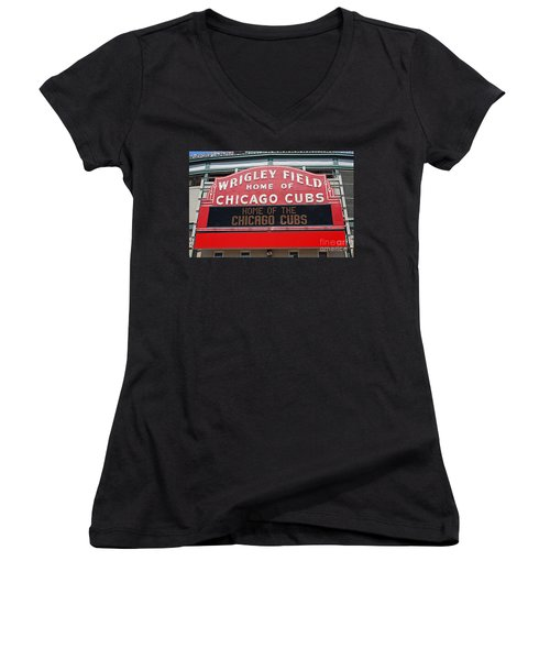 0334 Wrigley Field Women's V-Neck T-Shirt (Junior Cut) by Steve Sturgill
