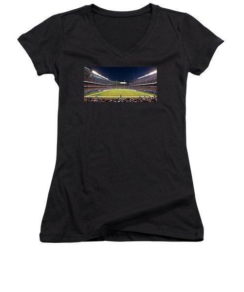 0587 Soldier Field Chicago Women's V-Neck T-Shirt (Junior Cut) by Steve Sturgill