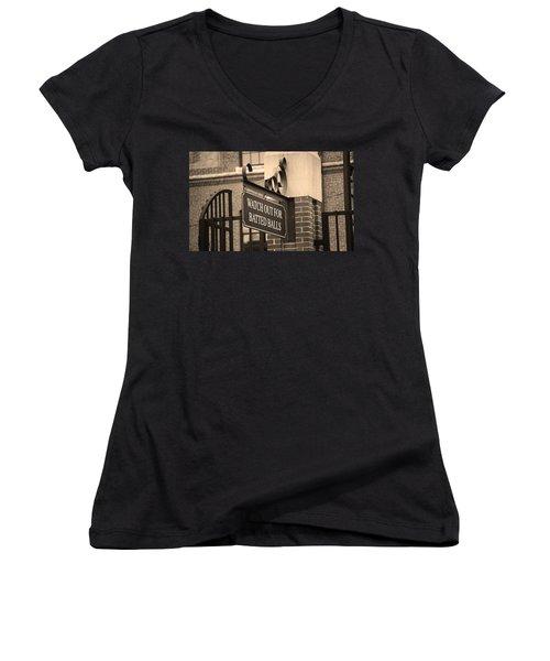 Baseball Warning Women's V-Neck T-Shirt (Junior Cut) by Frank Romeo