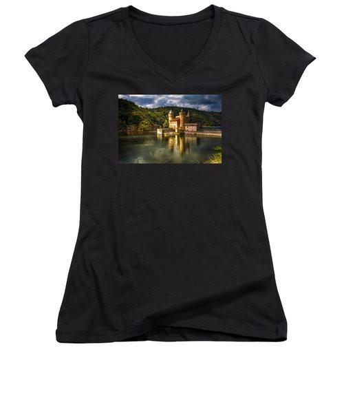 Chateau De La Roche Women's V-Neck T-Shirt (Junior Cut) by Debra and Dave Vanderlaan