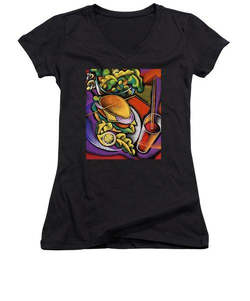 Dinner Women's V-Neck T-Shirt (Junior Cut) by Leon Zernitsky