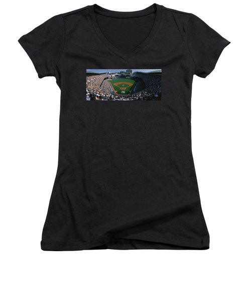 High Angle View Of A Baseball Stadium Women's V-Neck T-Shirt (Junior Cut) by Panoramic Images