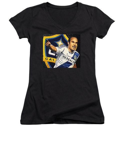 Landon Donovan Women's V-Neck T-Shirt (Junior Cut) by Taylan Apukovska