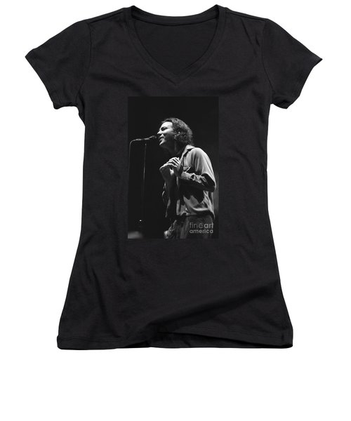 Pearl Jam Women's V-Neck T-Shirt (Junior Cut) by Concert Photos