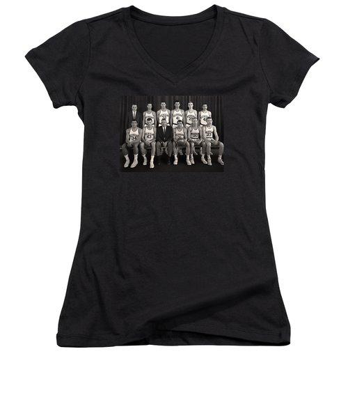 1960 University Of Michigan Basketball Team Photo Women's V-Neck T-Shirt (Junior Cut) by Mountain Dreams