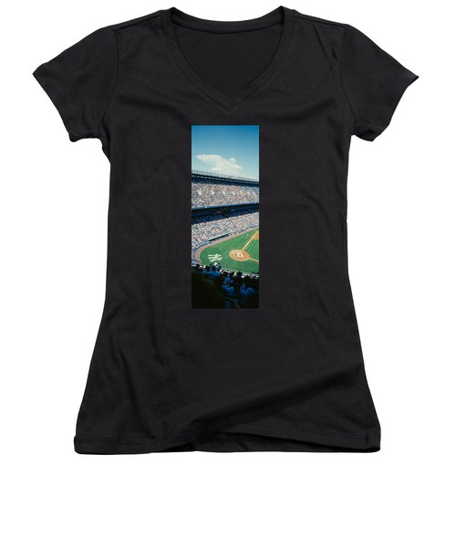 High Angle View Of Spectators Watching Women's V-Neck T-Shirt (Junior Cut) by Panoramic Images