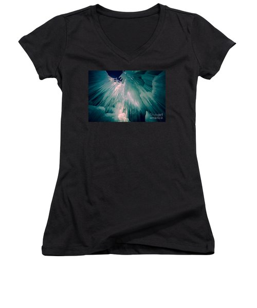 Ice Castle Women's V-Neck T-Shirt (Junior Cut) by Edward Fielding