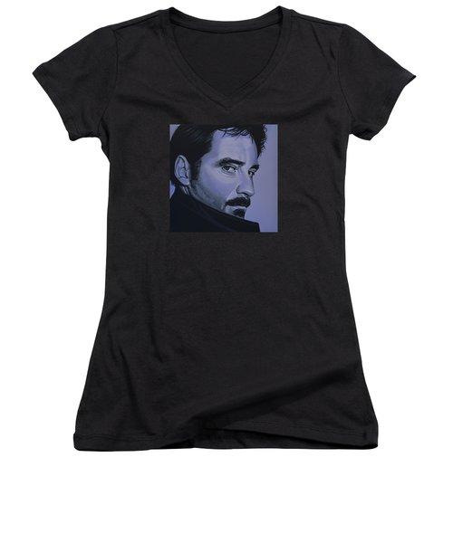 Kevin Kline Women's V-Neck T-Shirt (Junior Cut) by Paul Meijering