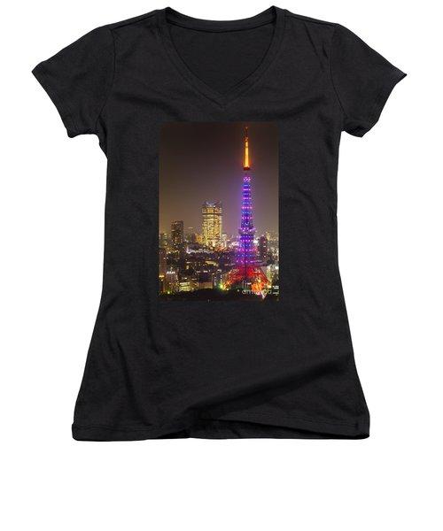 Tokyo Tower - Tokyo - Japan Women's V-Neck T-Shirt (Junior Cut) by Luciano Mortula